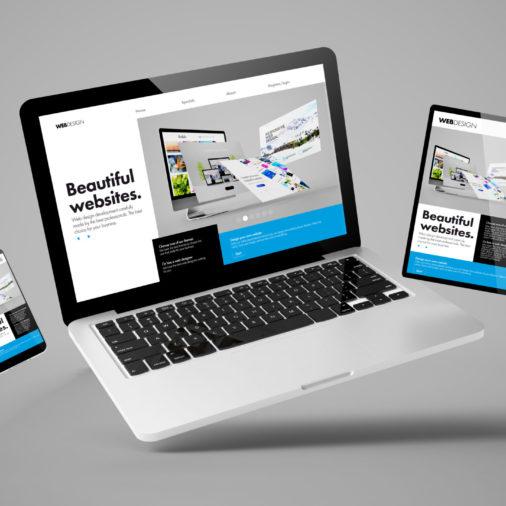 flying laptop, mobile and tablet 3d rendering showing builder website responsive web design